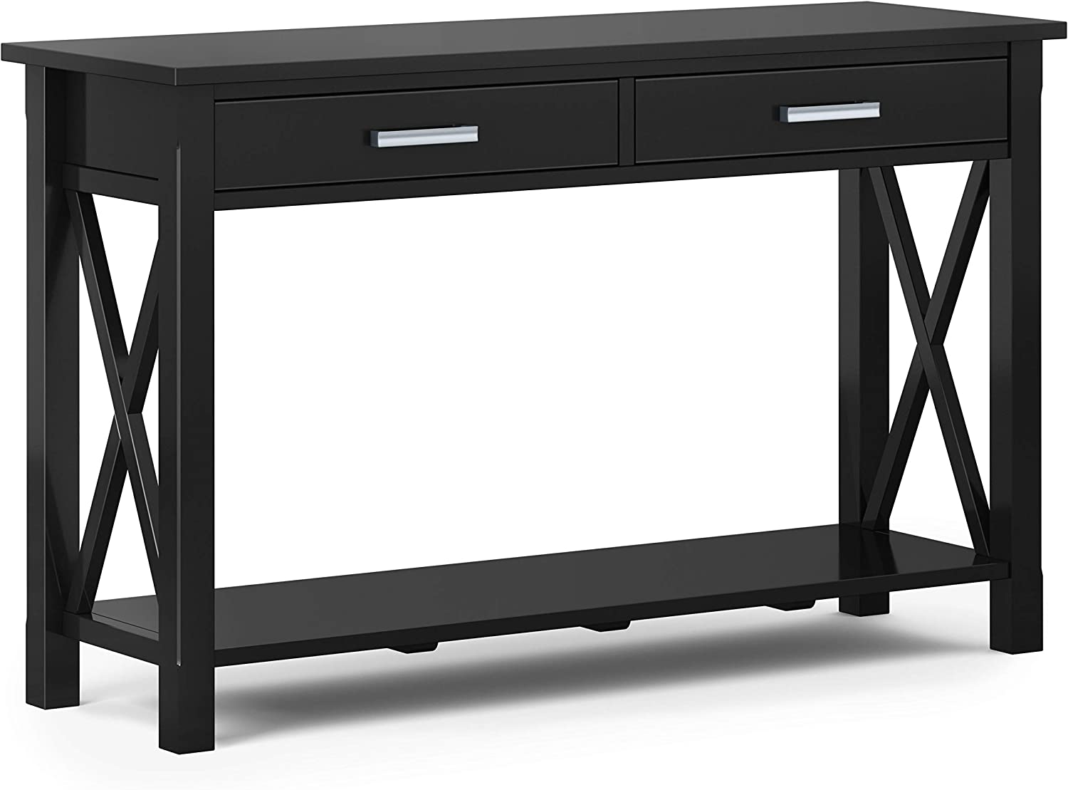 SIMPLIHOME Kitchener SOLID WOOD 47 inch Wide Contemporary Console Sofa Table in Black with Storage, 2 Drawers and 1 Shelf, for the Living Room Entryway and Bedroom