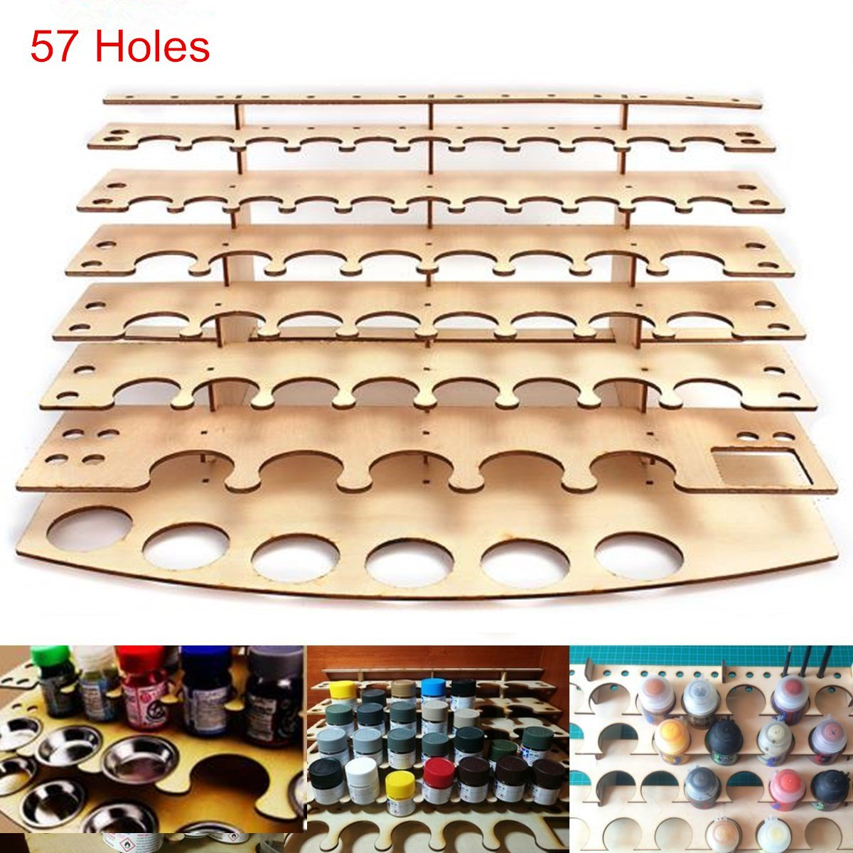CAVEEN Paint Stand 57 Pots Wooden Acrylic Color Paints Bottle Storage Rack Holder Modular Organizer