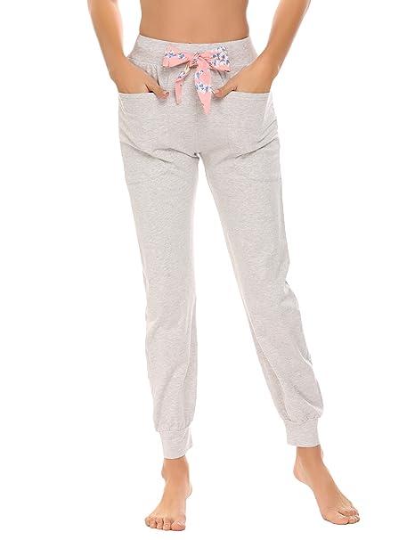 Meaneor_Fashion_Origin Pyjamahose Damen Schlafhose Lang Schlafanzughose Baumwolle Sleep Pants Bändchen mit Taschen und Elasti