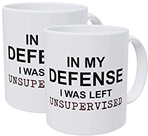Willcallyou Pack of 2 in My Defense I Was Left Unsupervised, Job, Work, office 11 Ounces Funny White Coffee Mug