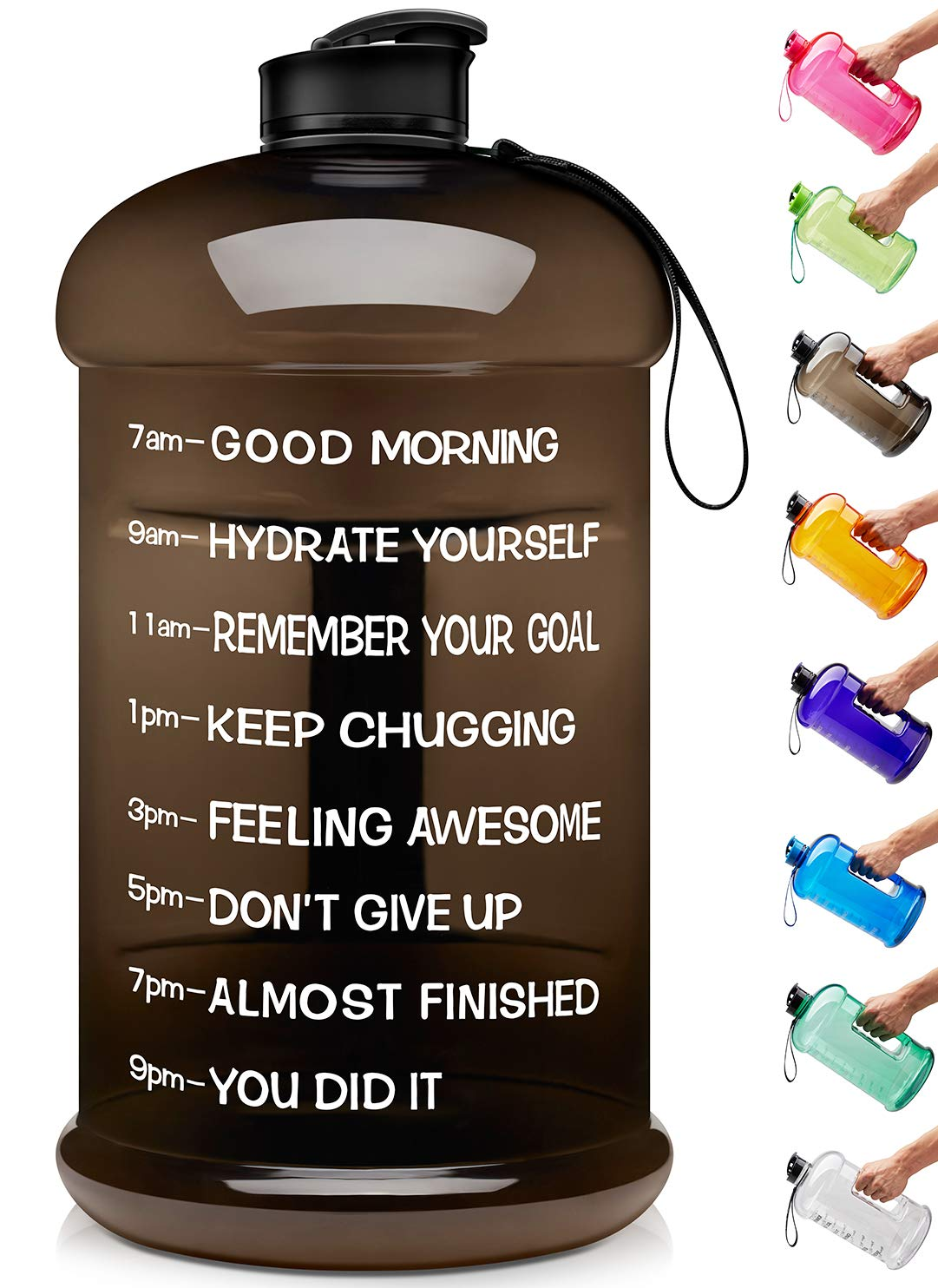 Venture Pal Large 1 Gallon/128 OZ & 74 OZ Motivational Leakproof BPA Free Water Bottle with Time Marker Perfect for Fitness Gym Camping Outdoor Sports-1Gallon-Black