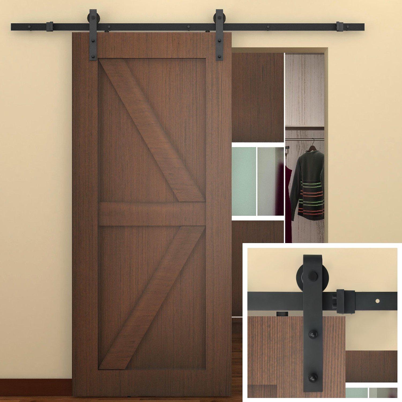 amazoncom 66 ft sliding barn door hardware black j shape hangers 1 x 66 foot rail home improvement