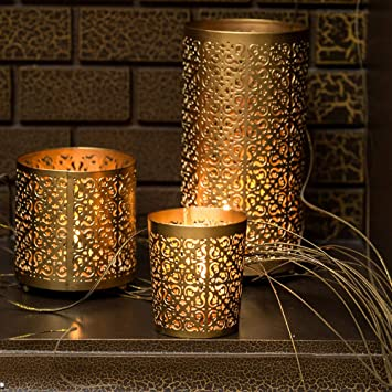 Buy Lighthaus Candle Holders Metallic - Set of 3 with Free 6 Scented  Tealight Candles Online at Low Prices in India - Amazon.in