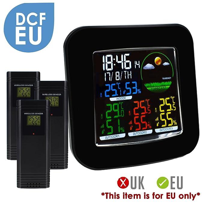 Station météorologique couleur sans fil DCF Horloge radio contrôlée, thermomètre extérieur intérieur, température ° F ° C Prévision, alarme, sommeil, humid