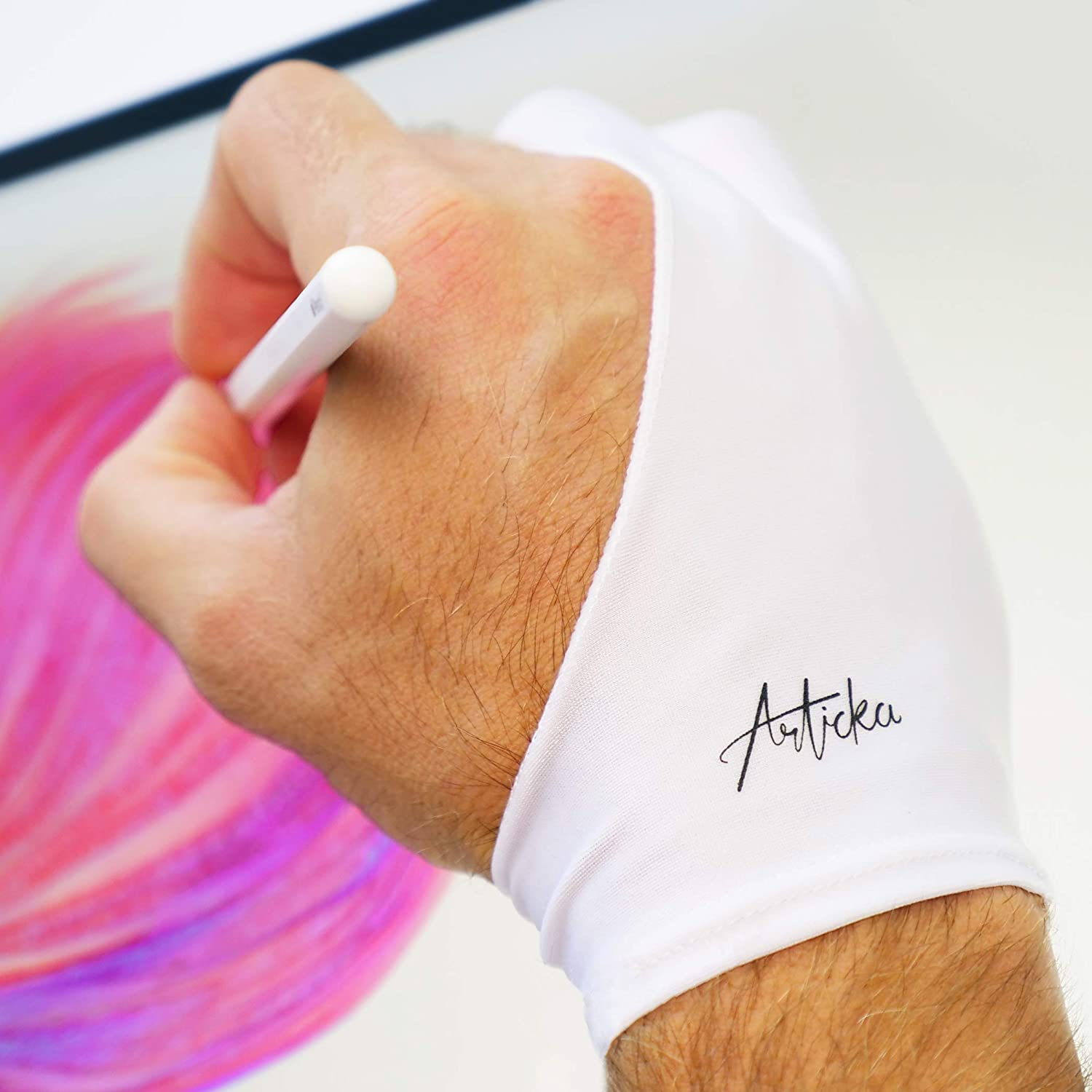 Articka Artist Glove for Drawing Tablet, iPad (Smudge Guard, Two-Finger, Reduces Friction, Elastic Lycra, Good for Right and Left Hand) White (Large)