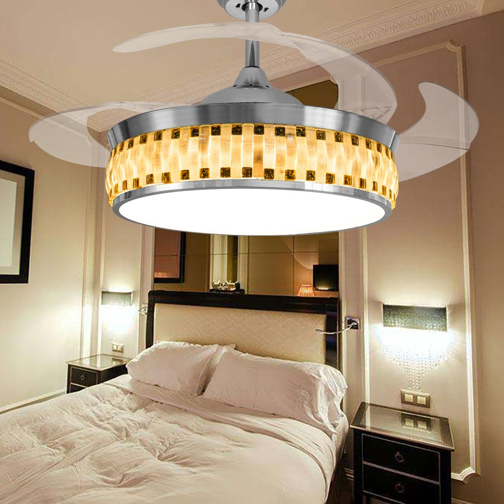 Leesville Modern Ceiling Fan Remote Control LED Bedroom Ceiling Fans Retractable Blades Crystal Chandelier Fan with LED Lights Kits, 4000K Soft Cool White (42 Inch, Silver)