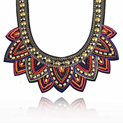 Yazilind Ethnic Style Multiple Millet Beads Chunky Chain Bib Statement Choker Collar Necklace for Women P447Cdo