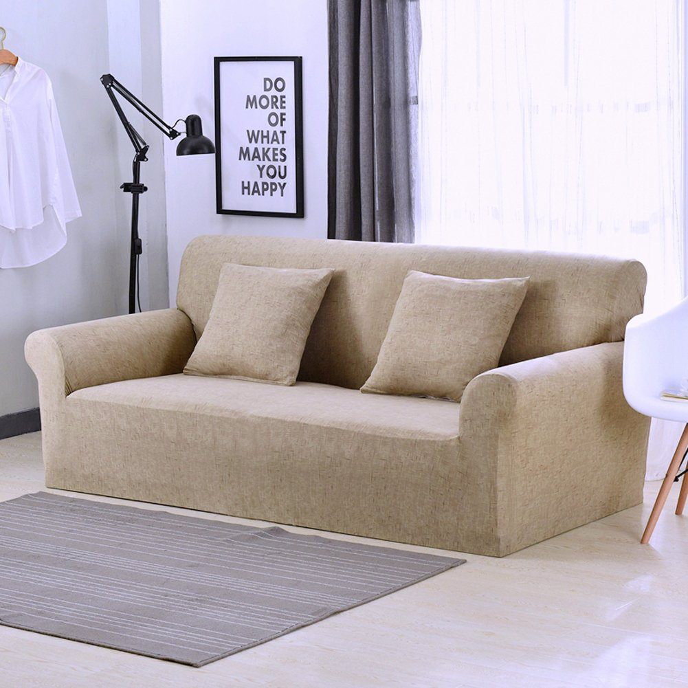 1 2 3 4 Seater Sofa Cover All-Season Linen Pattern Stretch Sofa Slipcover Anti-skid Elastic Polyester Couch Cover Protector size 1 Seater:90-140cm (Pink) tifee