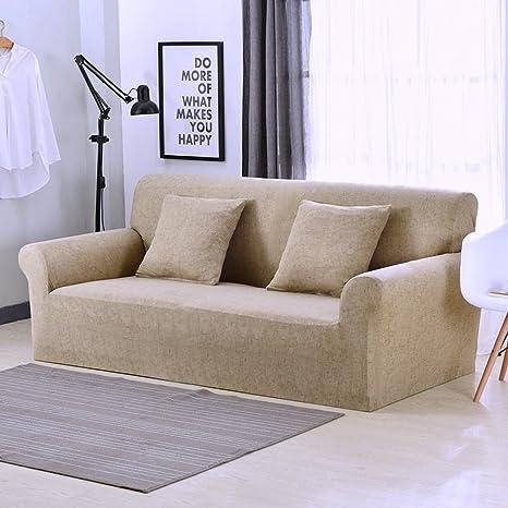 Funda elástica protectora y antideslizante de poliéster para sillones de 1, 2, 3 o 4 plazas, caqui, 1 Seater:90-140cm