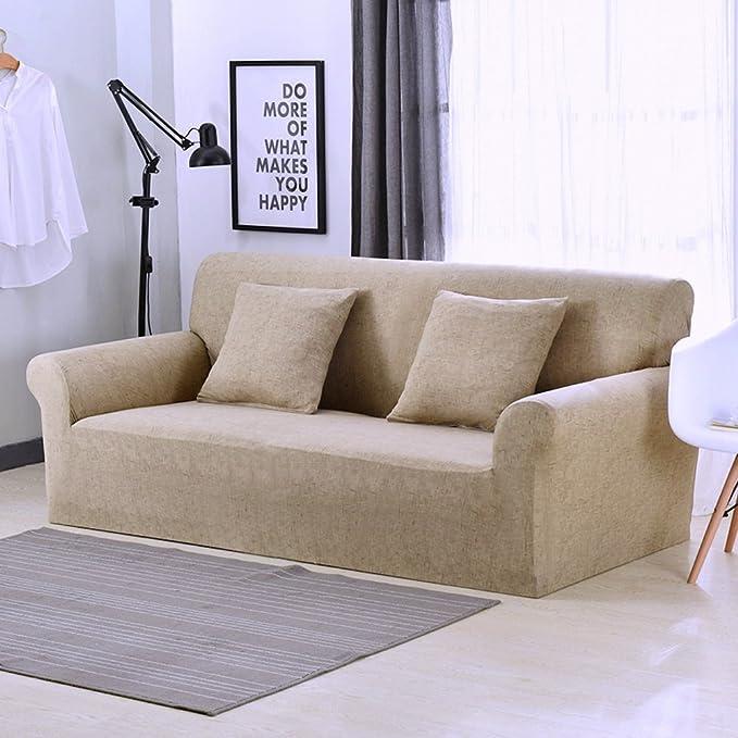 Funda elástica protectora y antideslizante de poliéster para sillones de 1, 2, 3 o 4 plazas, caqui, 2 Seater:145-185cm