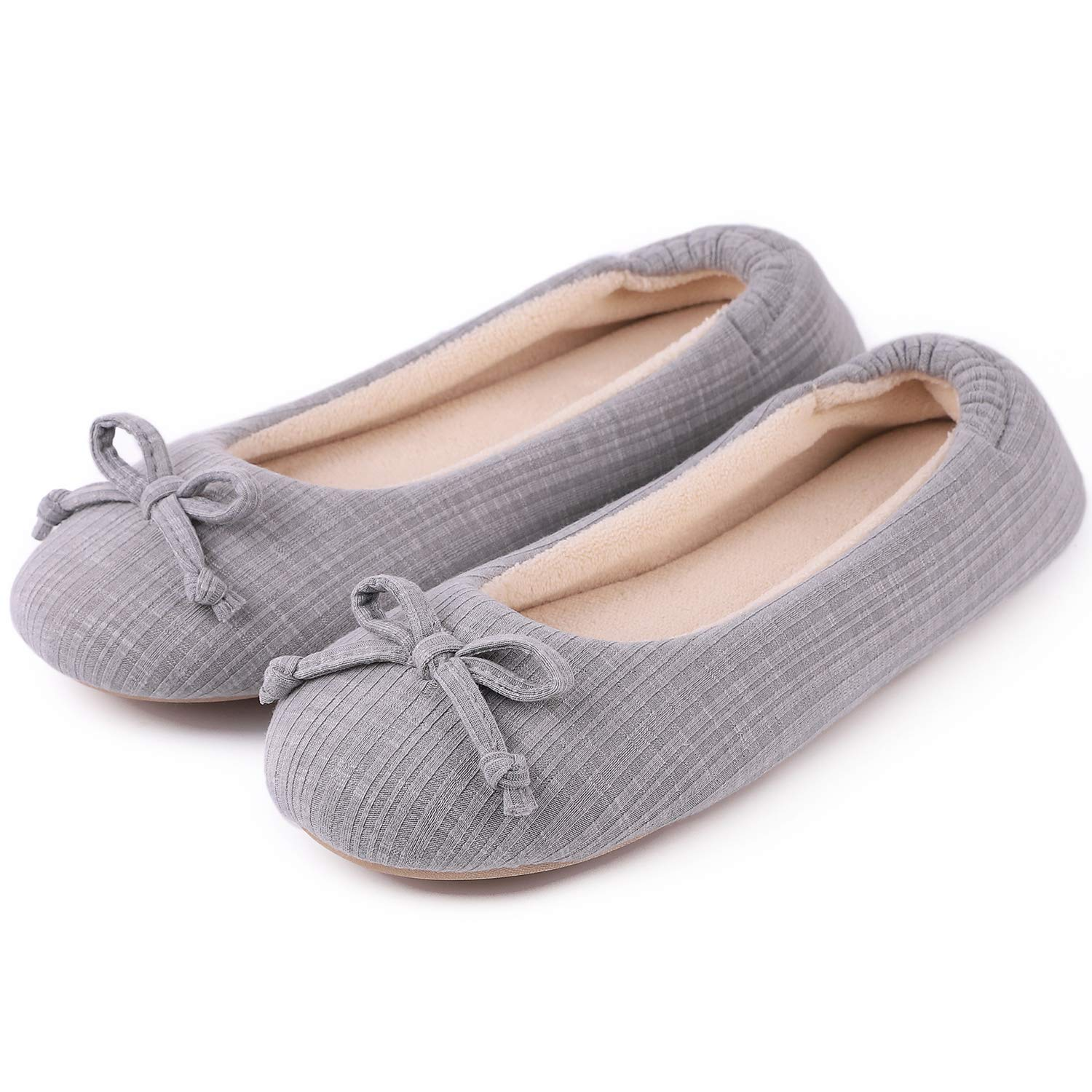 Cozy Niche Women's Comfort Stripe Knitted Ballerina Style Shoes, Memory Foam House Slippers with Coral Velvet Lining (5-6 B(M) US, Gray)