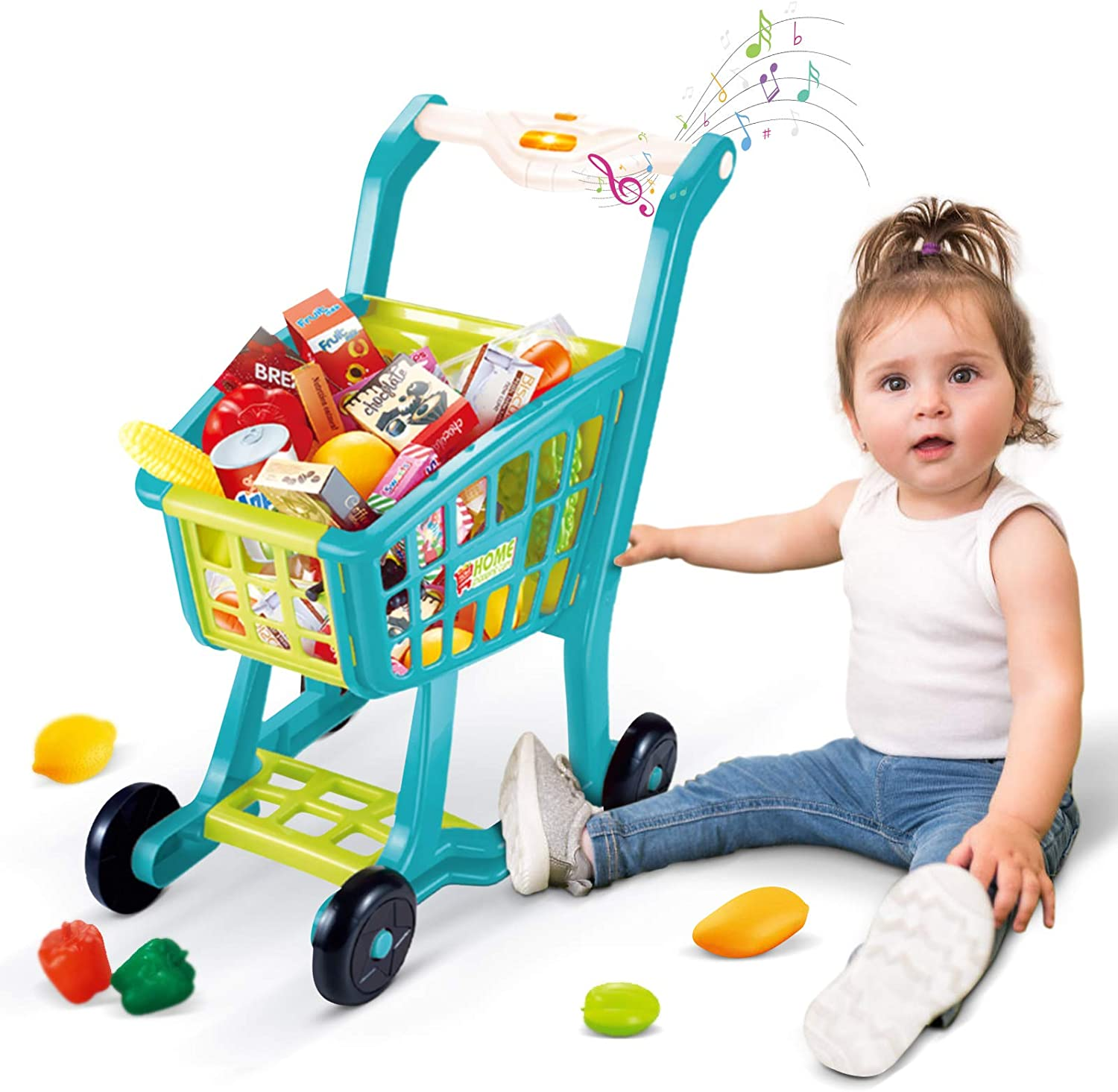 KALKOAOLY Kids Toy Shopping Carts, Portable Pretend Cart with Groceries, Toddlers Cart Toy Includes 27 Pieces Fruits and Vegetables, Supermarket Shopping Cart Play House Trolley(Blue)