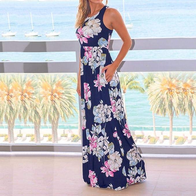 ABsolute Vestido Las Mujeres Visten la Playa, Fiesta de Verano Flojo sin Mangas Ocasional de la impresión del Verano del Vestido de Fiesta de la Playa: ...
