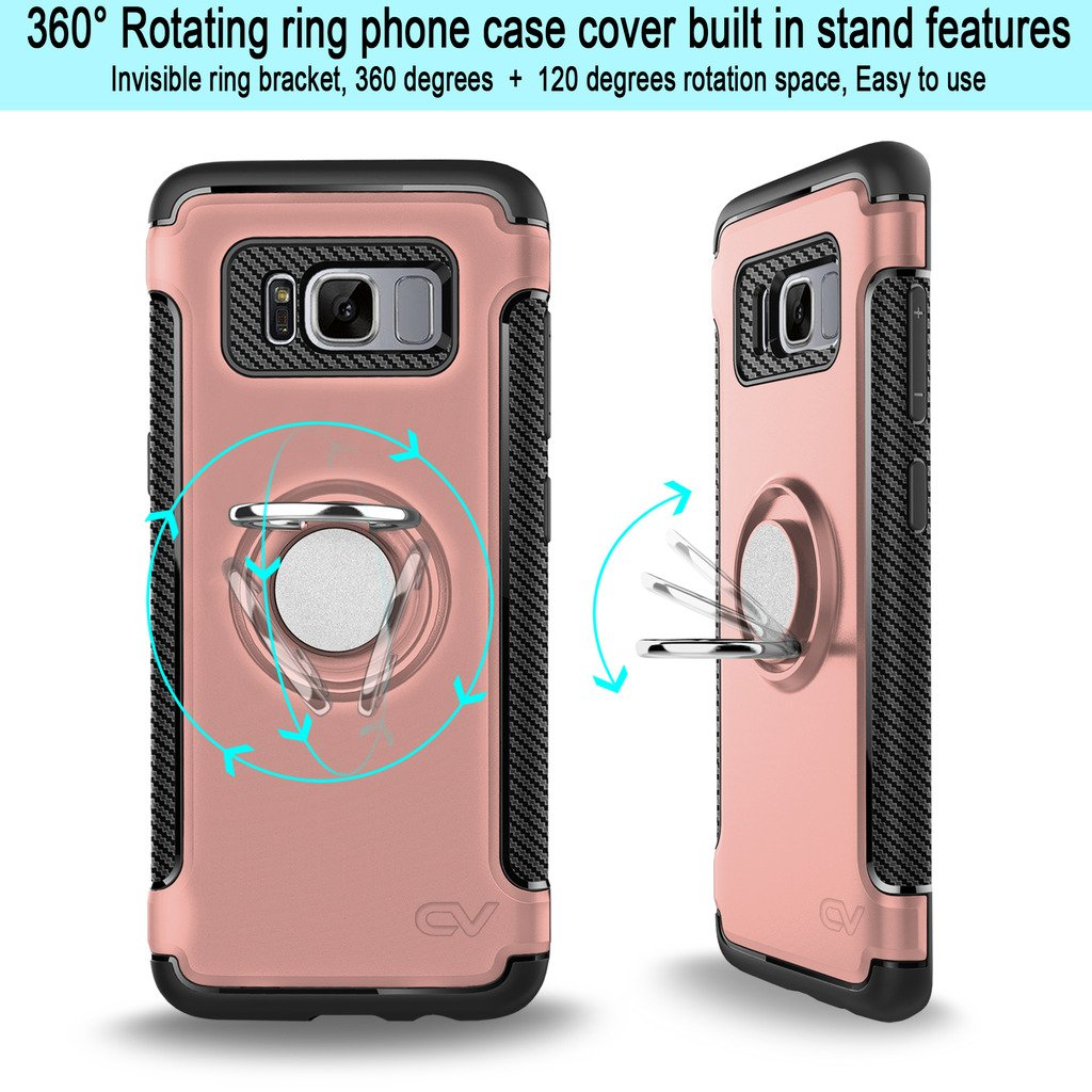 Galaxy S8 Plus Case Cellularvilla Slim High Impact Asoftcase Dual Layer Protective Shockproof Built In 360 Degree Rotating Ring Holder Kickstand