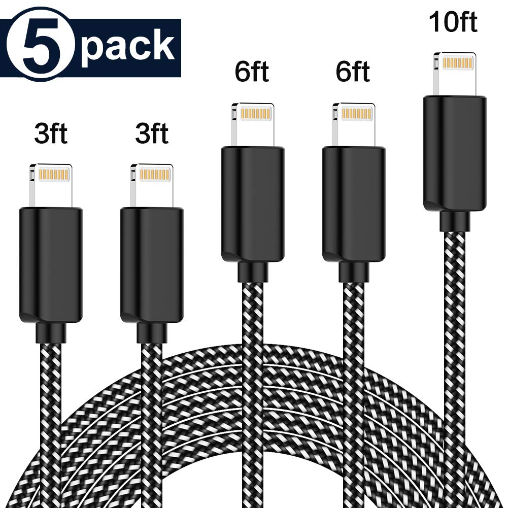 PLmuzsz MFi Certified iPhone Charger Lightning Cable 5 Pack Extra Long Nylon Braided USB Charging & Syncing Cord Compatible iPhone Xs/Max/XR/X/8/8Plus/7/7Plus/6S/6S Plus/SE/iPad/Nan More by PLmuzsz