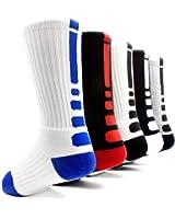 Elite Basketball Socks 5 Pack|Dri-Fit Athletic Crew Sport for Boy Girl Men Women