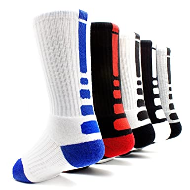 Amazon.com   5 Pairs Men s Sports Socks Basketball Football Athletic ... ddf47ed78f