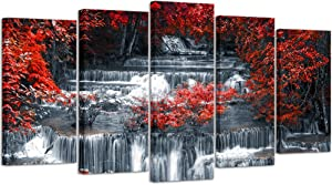 Visual Art Decor 5 Pieces Canvas Wall Art Red Trees Forest Black and White Waterfall Landscape Picture Prints Modern Home Office Wall Decoration Ready to Hang (01 5 Pieces)