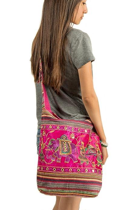 Amazon.com: Rosa bolsa de hombro hecho a mano bordado ...