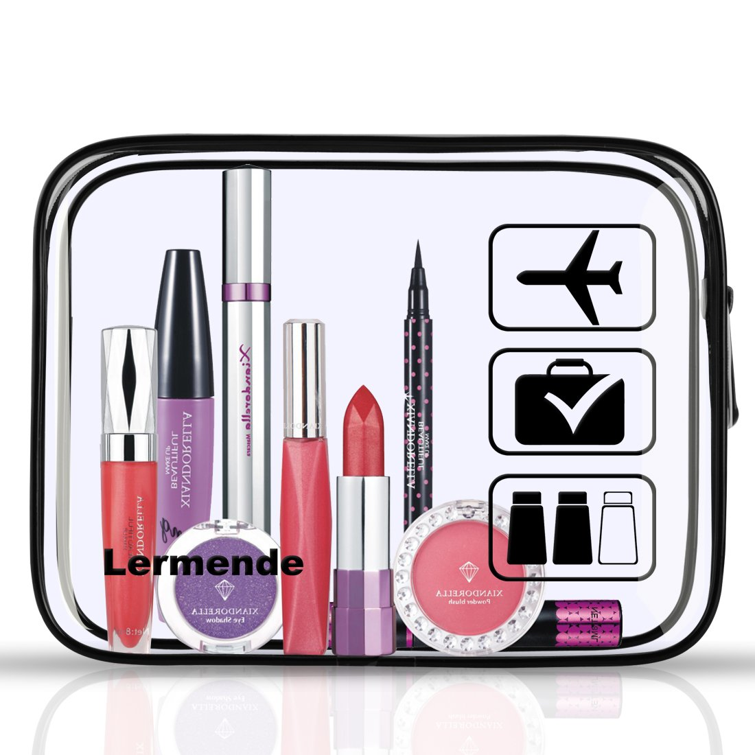 3pcs Lermende TSA Approved Toiletry Bag with Zipper Travel Luggage Pouch Carry On Clear Airport Airline Compliant Bag Travel Cosmetic Makeup Bags - Black by Lermende (Image #4)