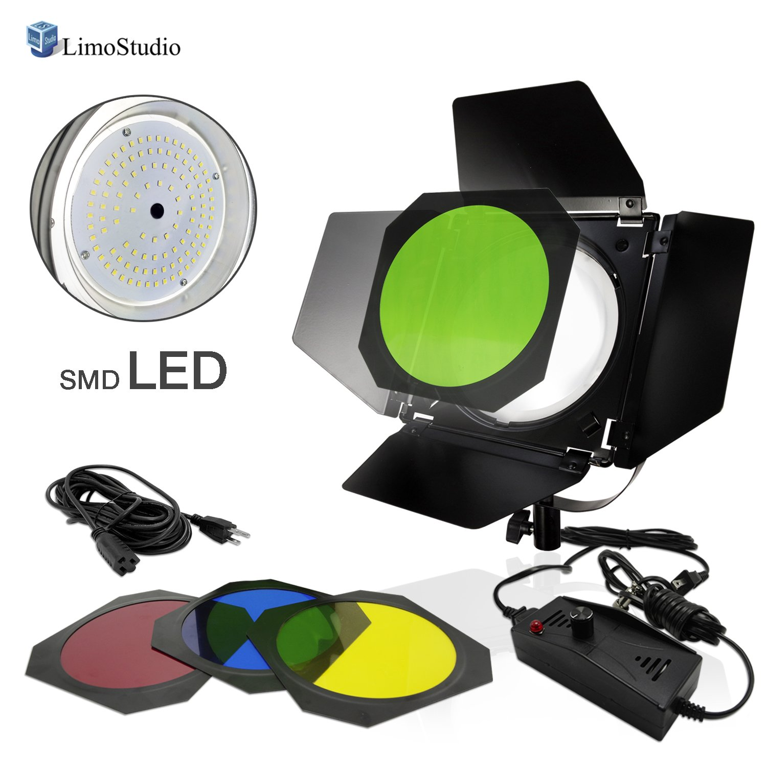 Photogaphy Photo Studio LED Barn Door Dimmable Light with 4 Color Gel Filters and Extension Cord, LMS907