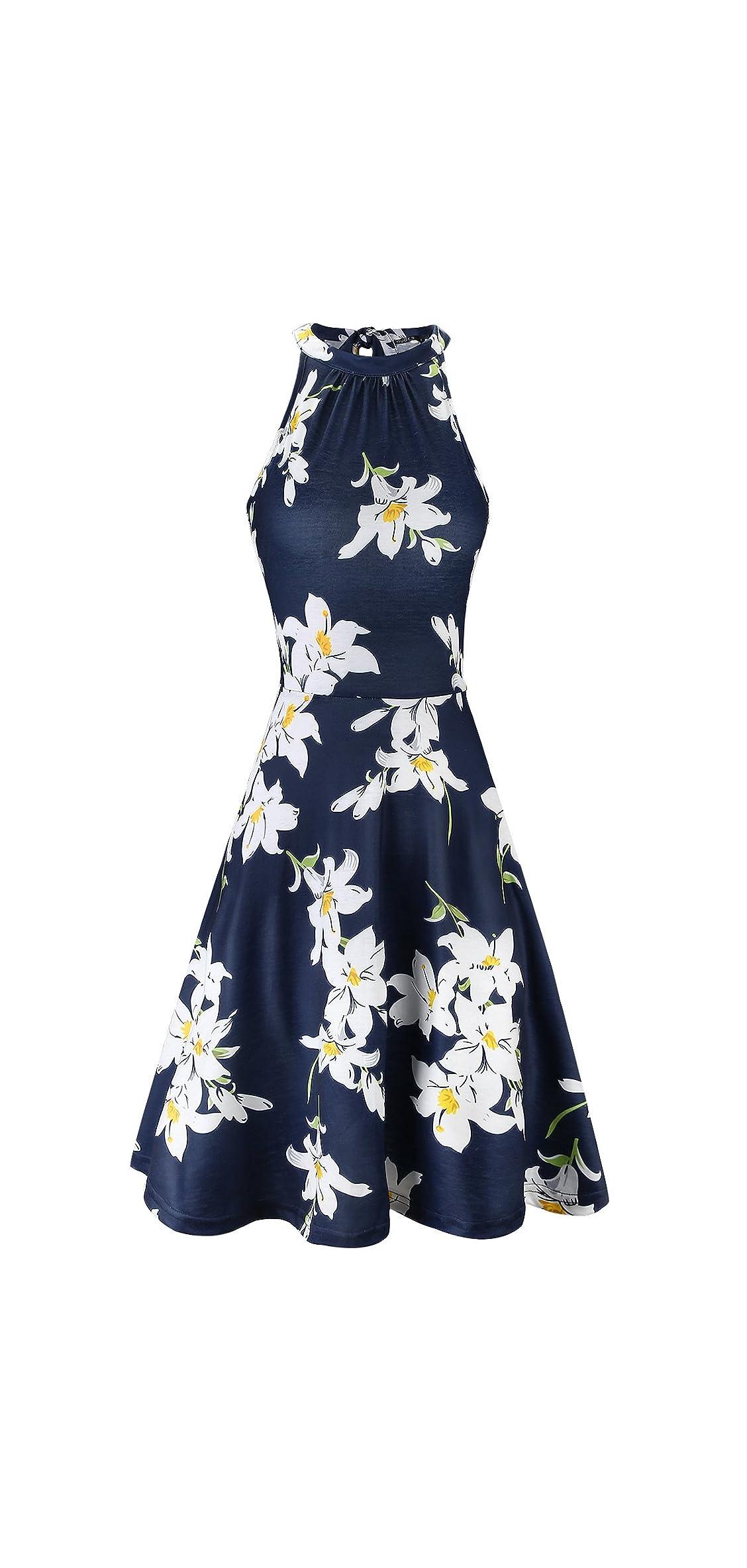 Women's Halter Neck Floral Summer Casual Sundress