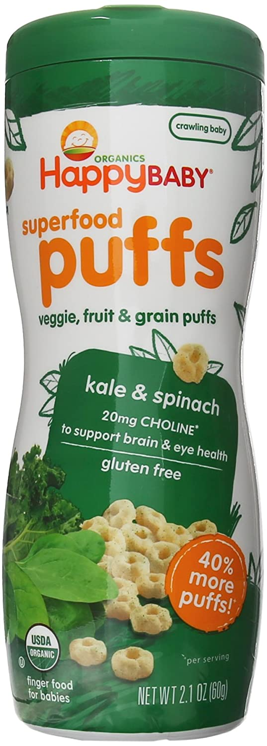 Happy Baby Organic Superfood Puffs, Kale & Spinach, 2.1 Ounce (Pack of 6) HAPPYBABY 00120