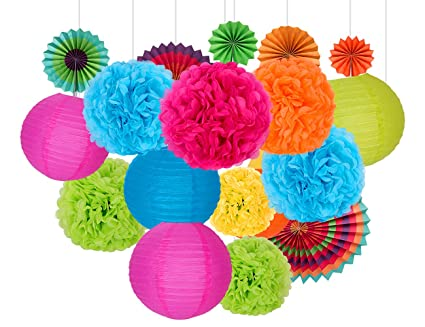 Happy Birthday Decorations Party Supplies Set Of 26 Rainbow Color Paper Pom Poms