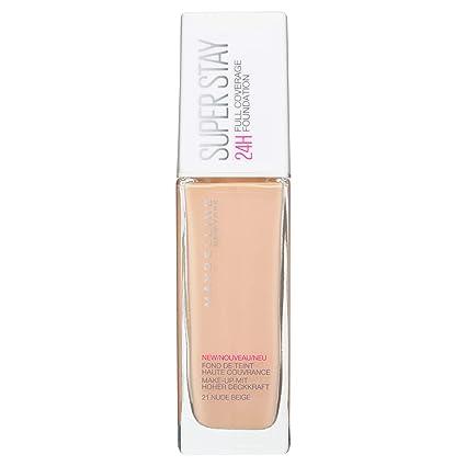 1ee954152 Maybelline New York Base de Maquillaje Superstay 24H (Larga duración), Tono 21  Nude