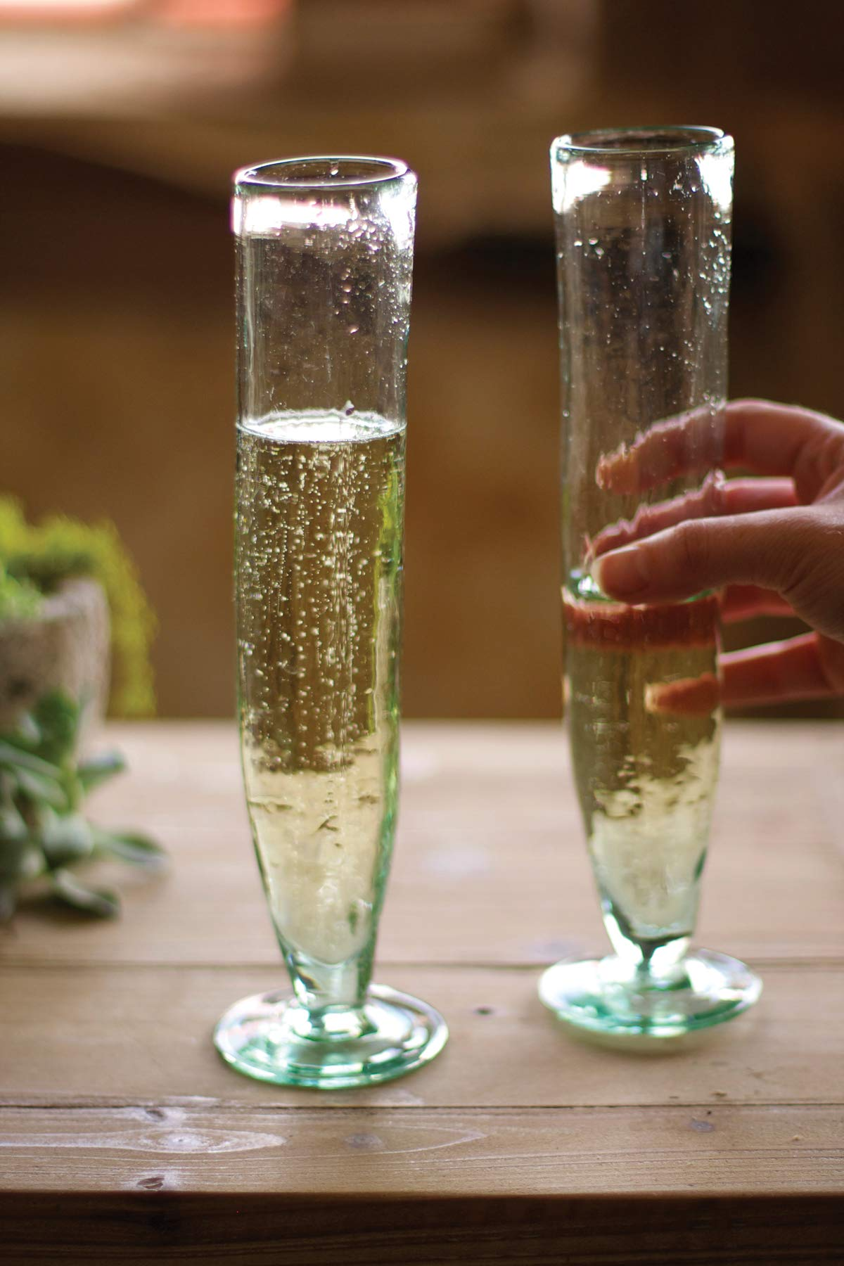 Kalalou Tall Recycled Champagne Flute One Size Green