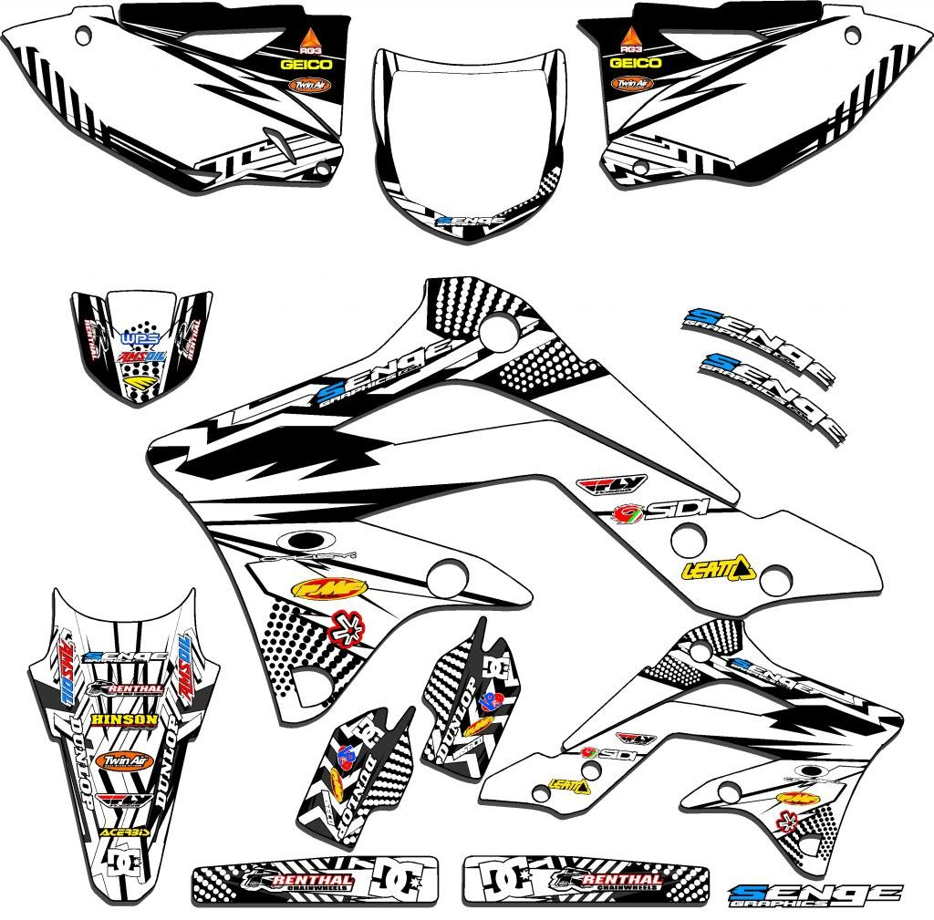 センジグラフィックス2009 – 2012 KAWASAKI KX 250 F ( 4ストローク、Mayhemホワイトグラフィックキット   B01MRCF0IN
