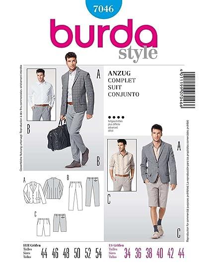 Amazon.com: BURDA STYLE 7046 MEN\'S SUIT - JACKET, SHORTS & PANTS ...
