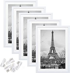 upsimples 11x17 Picture Frame Set of 5,Display Pictures 9x15 with Mat or 11x17 Without Mat,Wall Gallery Photo Frames,White