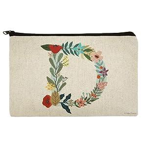 Letter D Floral Monogram Initial Makeup Cosmetic Bag Organizer Pouch