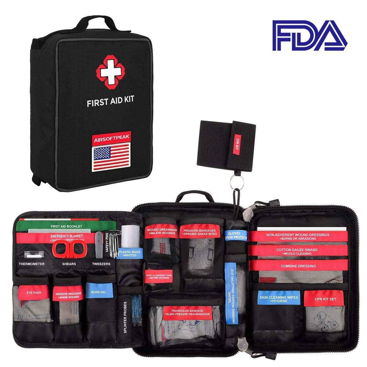 AIRSOFTPEAK First Aid Kit Labeled First Aid Essentials Kits 96 Pieces Waterproof Molle First Aid Bag Reflective Strip for Emergency at Home, Cars, Survival, Hiking, Travel, Black