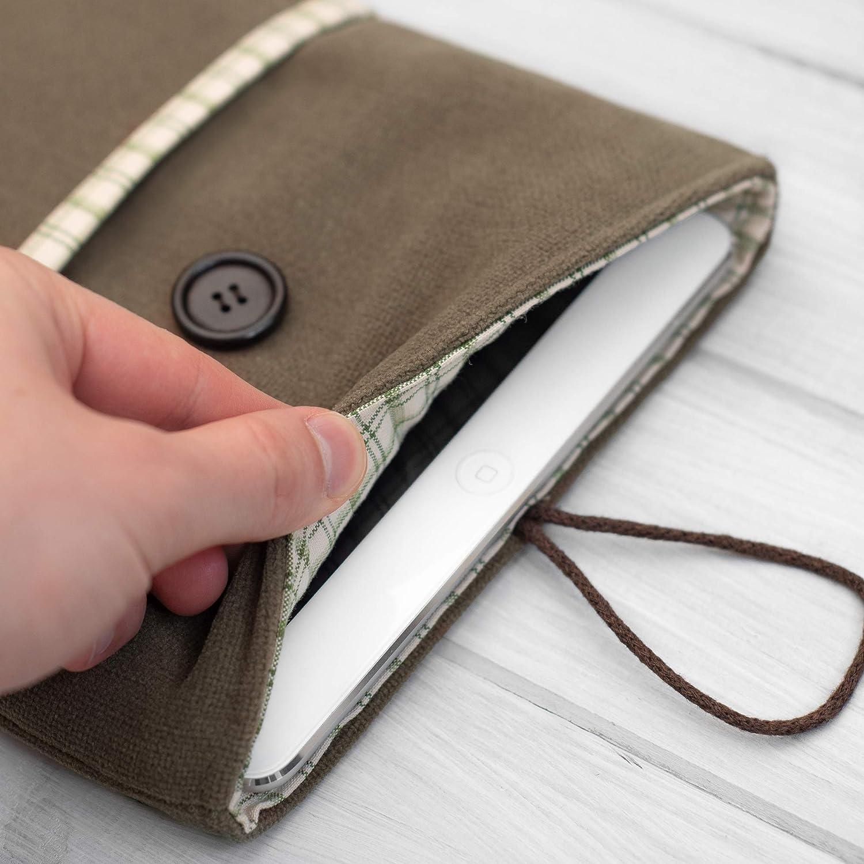 HOUSSE/étui/pochette pour tablette/iPad Pro 9.7 10.5 11 12.5 Mini and Air/tissu doux vert-brun/Rembourré