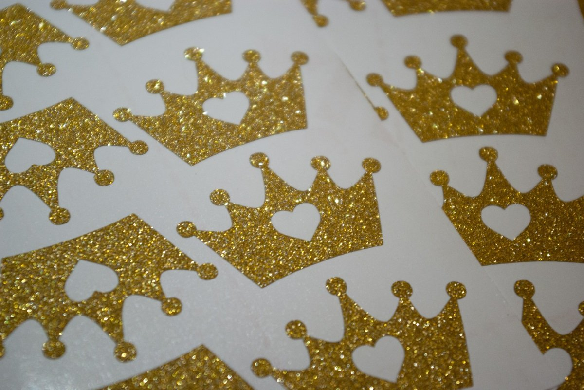 20 Glitter Crown with heart Stickers Princess Party D/écor Envelope Seals Wedding Invitations Birthday Gold or Silver Vinyl Craft DIY Small Wall Sticker