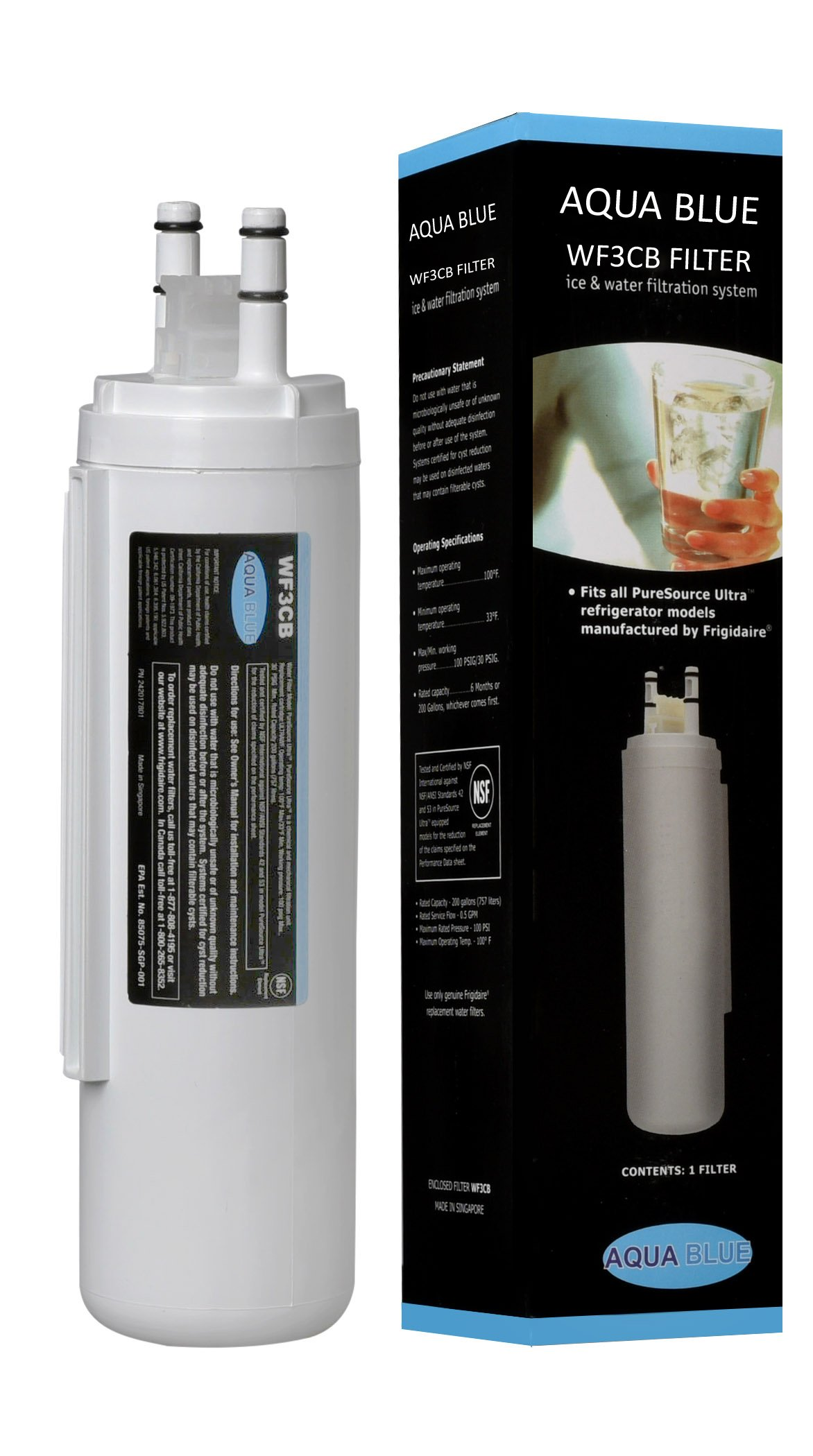 Aqua Blue WF3CB Filter Compatible For Frigidaire Refrigerator Replacement Water Filter Nsf Certified (NOT ULTRAWF)