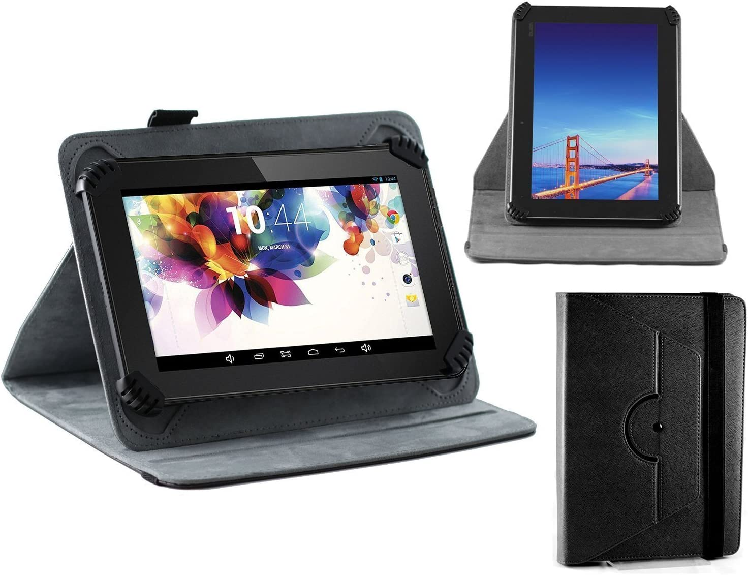 Navitech Black Faux Leather Hard Case Cover with 360 Rotational Stand Compatible with The Acer Iconia One 8 B1-820/830