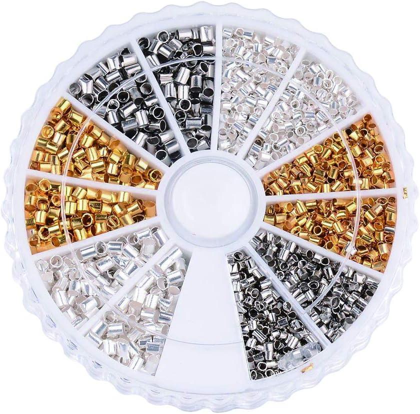 Cuentas de latón engarzado en 1 caja, varios tamaños variados, cuentas espaciadoras sueltas para pulseras y collares – tapas para hacer joyas, 3 colores