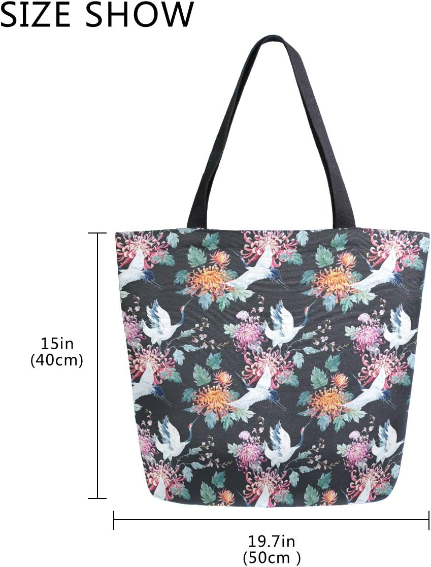 ZzWwR Stylish Red Heads Crane Blooming Flowers Pattern Extra Large Canvas Beach Travel Reusable Grocery Shopping Tote Bag Portable Storage HandBag