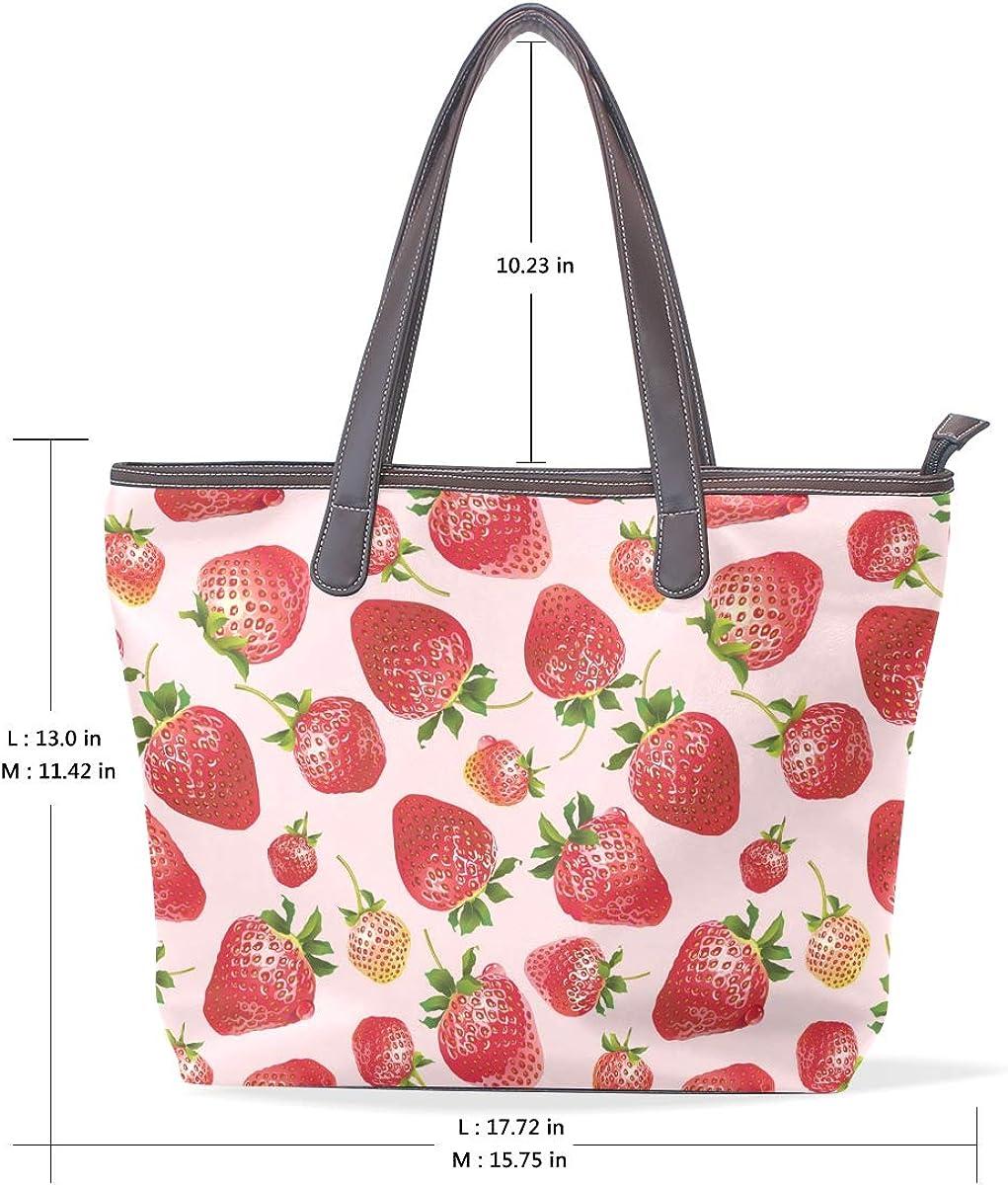 Fresh And Bright Strawberry Womens Leather Handbag Shoulder Bag Satchel Handbags Leather Tote Purse Women Handle Handbags