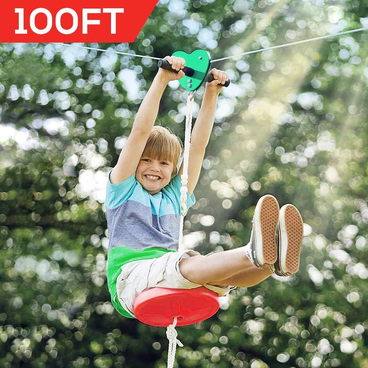 Hi-Na Zip Line Kit 80ft 100ft 120ft Zipline Kits for Backyard Kids Play Set Zipline with Seat Handles Ziplines for Backyards Zipline 100 Foot Zip Line Kit Zip Line Play Set Zipline for Kids (100ft)