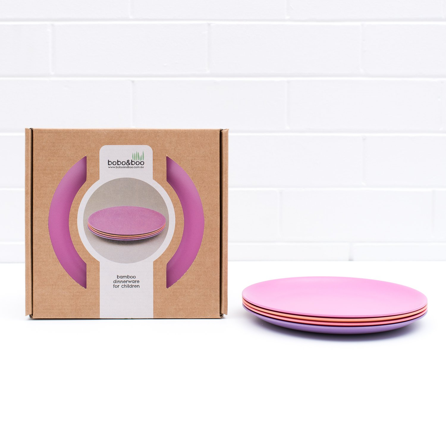 Bobo&Boo Bamboo Kids Plates, Set of 4 Eco Friendly Toddler Plates :: Non Toxic Children's Dinnerware for Babies & Big Kids :: Mix and Match :: Great Gift for Baby Showers & Birthdays, Sunset BoBo and Boo