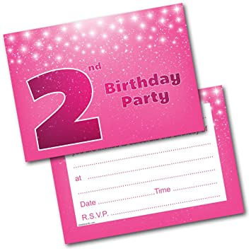 Doodlecards 2nd Birthday Party Invitations Girl Invites Pack Of 20 Postcards And Envelopes
