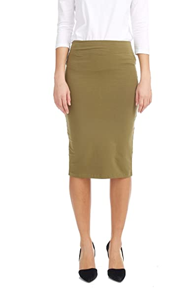 d500bd9536f6 Esteez Women's Pencil Skirt Knee Length Modest Lightweight Army Green Small