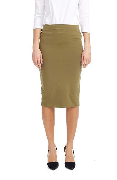 7600d5a0d53d Esteez Women's Pencil Skirt Knee Length Modest Lightweight Army Green Small
