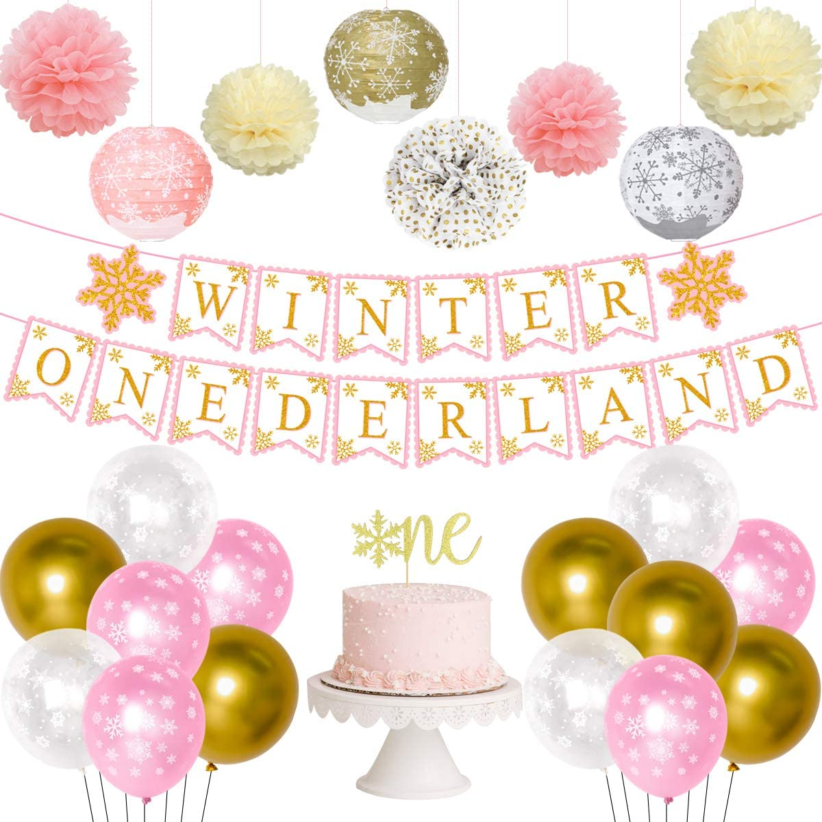 Winter Onederland Birthday Decorations Girl Pink Gold Winter Snowflake First Party Supplies with Onederland Banner Snowflake Lantern One 1st Cake Topper