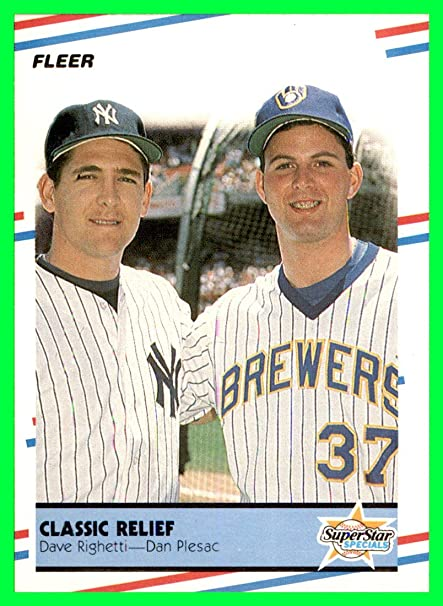 01c378658 1988 Fleer #625 Dave Righetti NEW YORK YANKEES MILWAUKEE BREWERS Dan Plesac  MLB NETWORK at Amazon's Sports Collectibles Store