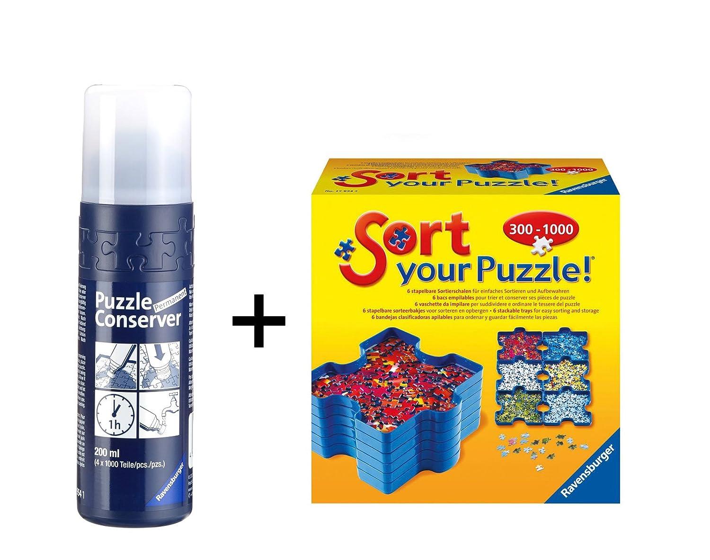 Set de 6 bandejas portapiezas puzzle Sort & Go Ravensburger 17934 + Pegamento/Conserver: Amazon.es: Juguetes y juegos